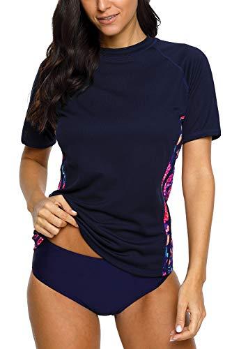 (Sociala Womens Swim Shirt UV Protection Short Sleeve Rash Guard Shirt Navy XL)
