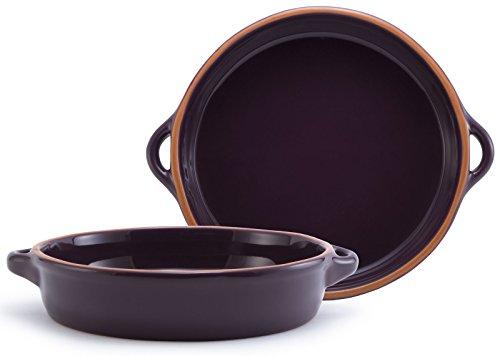 Plum Purple Glazed Terracotta Ceramic Round Casserole 9 5