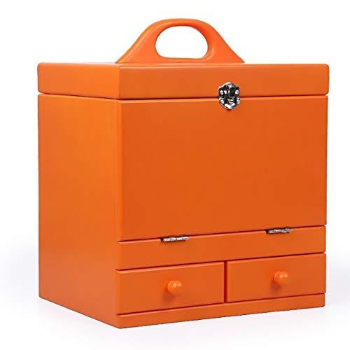 化粧箱、オレンジ二重デッキヴィンテージ木製彫刻化粧品ケース、ミラー、高級ウェディングギフト、新築祝いギフト、美容ネイルジュエリー収納ボックス   B07NQDBRM9