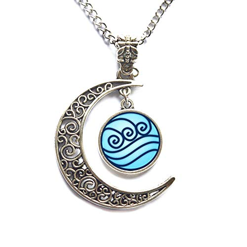 Modern Crescent Moon Necklace, Moon Necklace,Water Tribe Necklace Pendant Water Tribe Jewelry,Friends ()