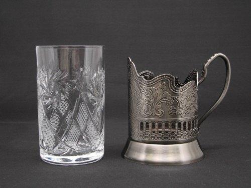 1 Russian Crystal Hot Tea Glass 8.5 Oz & 1 Metal Glass Ho...