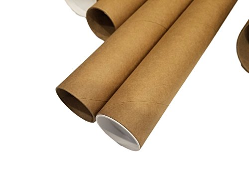 2 Wide Mailer (Kraft Mailing/Shipping Tubes with White End Caps by MT Products (2