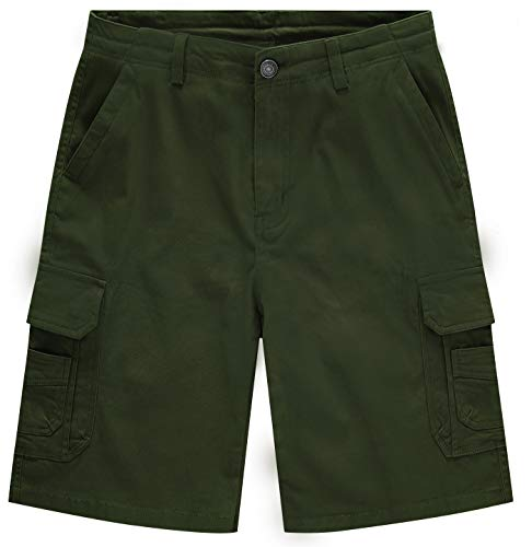 WenVen Men's Classic Stretch Cotton Cargo Shorts, Army Green, -