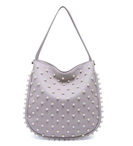 Pearl Bucket Slouch Bag Purple Handbag Ladies Designer EAMUK Shoulder Tote Studded M7763 Handbag Women's xITanF