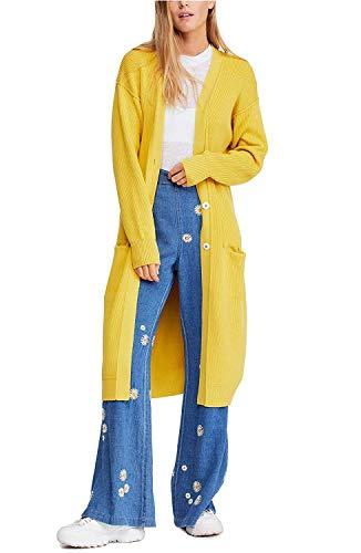 Free People Run to You Longline Cardigan, Size Medium - Yellow from Free People