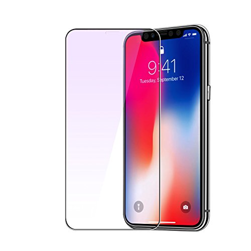 iPhone X Screen Protector, MOBY Anti Blue Light Eyes Protect Tempered Glass HD 4D Curve Edge,Full Screen Protector 9H Hardness Screen Protector for Apple iPhone X,Transparent (Protect Screen)