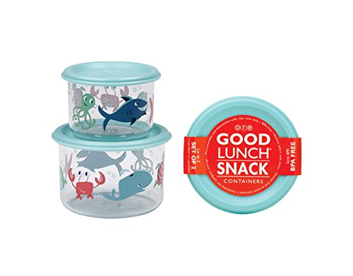 Sugarbooger Good Lunch Small Snack Container, Ocean, 2 Count (Sugarbooger Snack Containers)