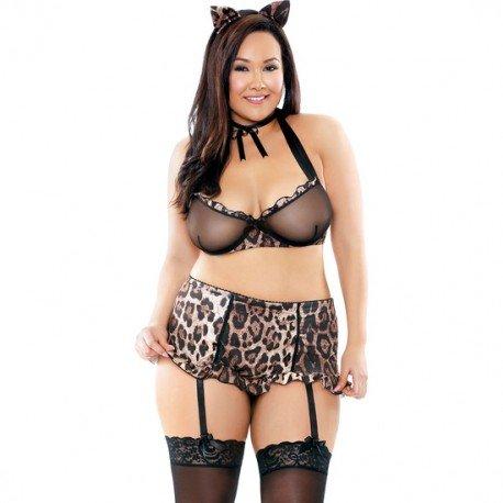 Fantasy Lingerie Curve Feline Bralette, Garter Belt, and Panty, 3X/4X, Leopard (Leopard Costume Sexy)