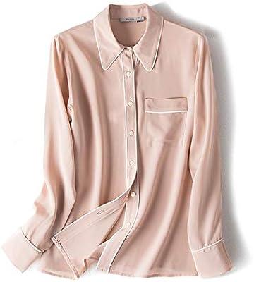 XCXDX Camisa Rosa De Seda De Manga Larga, Top Sencillo De Color Sólido, Mono Cómodo para Mujer: Amazon.es: Deportes y aire libre