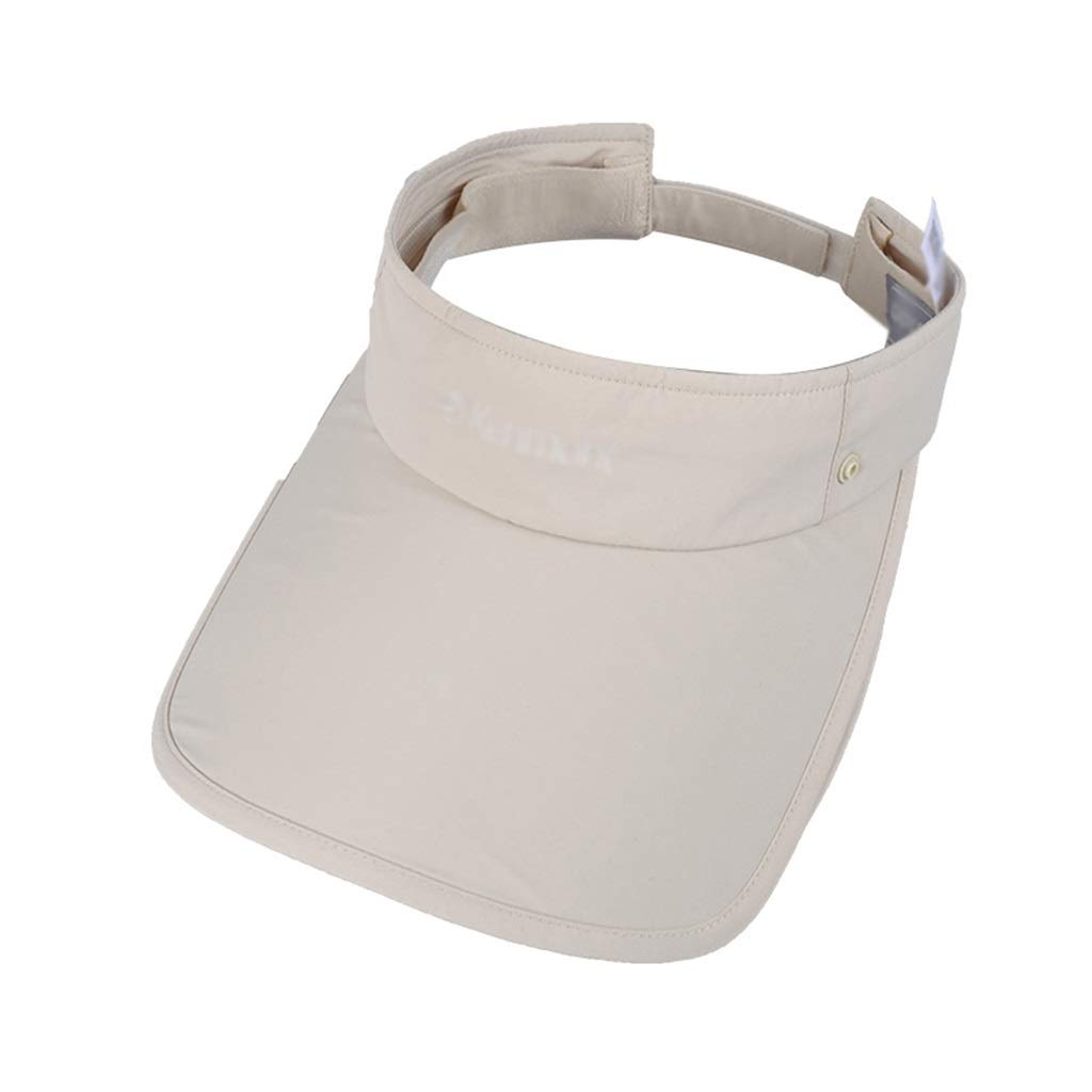 Summer Visor Detachable Telescopic Baseball Cap Outdoor Riding Hiking Cap 360° Predective Breathable Light and Long hat Solid color (color   Beige)