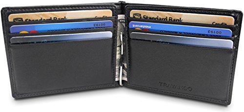 TRAVANDO Slim Wallet with Money Clip VIENNA | RFID Blocking Minimalist Wallet Mini Wallet Bifold with Gift Box for Men