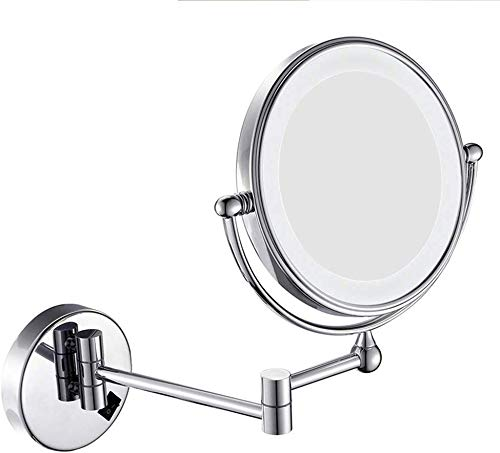 HJJ Makeup Mirror 8in Make-up Mirror with LED Reversible Wall-hinged Folding Mirror -