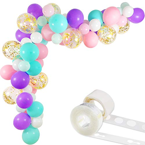 Unicorn Balloons Arch & Garland Kit, 70 Pack 12 Inch 5 Inch White Light Purple Pink Aqua Blue Mint Green Latex Balloons Gold Confetti Balloon Strip Set for Baby Shower Unicorn Party Supplies Birthday Decorations]()