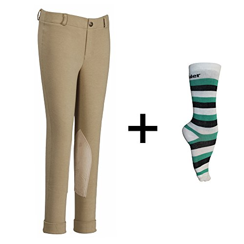 TuffRider Children's Starter Lowrise Pull-On Jods with Free Assorted Striped Socks | Children UltraGripp Knee Patch Horse Riding Pants with Free Socks - Sand, Size 12