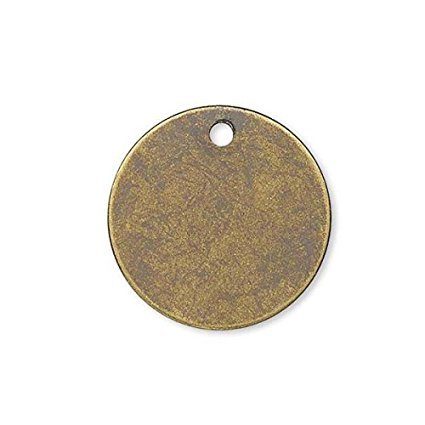 20 Flat 12mm Round Circle Blank Coin Drop Stamping Charms Plated Brass Metal (Antique Bronze) (Stamping Antique Brass)