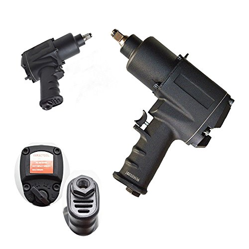 GHP 1/2'' Square Drive 1/4'' NPT 8000RPM Black Steel & Aluminum Impact Wrench Tool Gun by Globe House Products (Image #1)