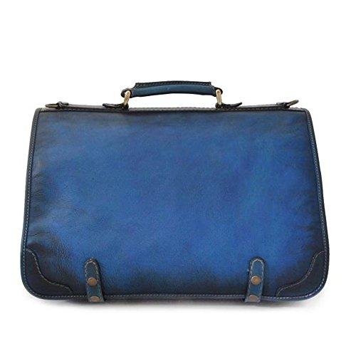 Pratesi Ammannati bolsa de mensajero de cuero italiano envejecido grande (marrón) azul