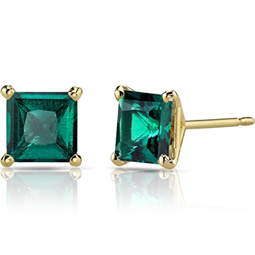 (14K Yellow Gold Princess Cut 2.00 Carats Created Emerald Stud Earrings)