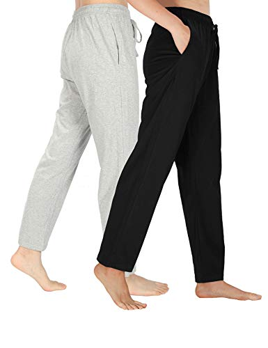 (WEWINK CUKOO Womens Pajama Pants Cotton Sleep Pants Stretch Knit Lounge Pants with Pockets (L=US 12-14, Black+ Light)