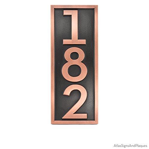 Bold Modern Font Address Vertical House or Business Number Plaque - 7x18 - Copper Coated Sign - 3 - Yard Vertical Sign