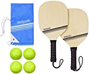 GoSports Pickleball Beginner Set Bundle - Includes Two Wood Paddles, Four Official Pickle Balls & Carrying