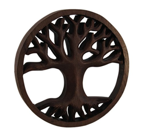 ve Wall Plaques Hand Carved Mahogany Tree Of Life Wood Wall Plaque 7.75 X 7.75 X 0.88 Inches Brown (Classic Carved Plaque)