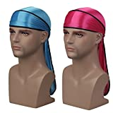Silky Soft Durag (2PCS) with Extra Long Tail and Wide Straps Headwrap Du-Rag for 360 Waves,Free Size,Rose Black+baby Blue Black