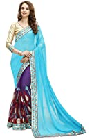 MARUTI saree for women georgette net multi art embroidery designer saree sari (half and half saree with unstitched golden blouse)Sarees (Women's Clothing Saree For Women Latest Design Wear New Collection in Latest With Designer Blouse Free Size Beautiful Saree For Women Party Wear Offer Designer Sarees With Blouse Piece)