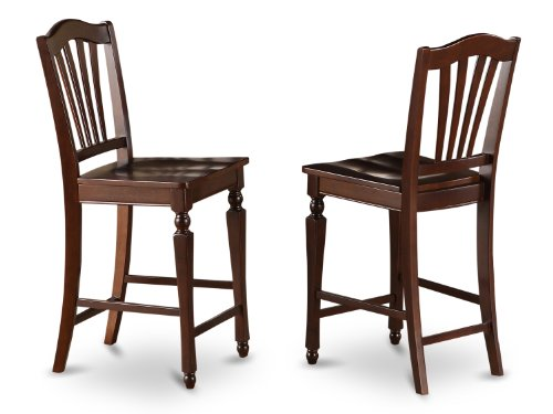 East West Furniture CHS-MAH-W Stool Set with Wood Seat, Set of 2