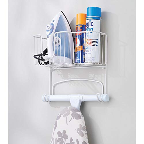 Wall Mount Holder Storage Basket Holds Board Spray Laundry Rooms White