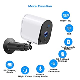 TOGUARD Indoor Wireless Security Camera, 1080P FHD Wire-Free Rechargeable Battery Powered Smart Home WiFi Security Camera IR Night Vision Motion Detection 2-Way Audio, Cloud/SD Card Storage