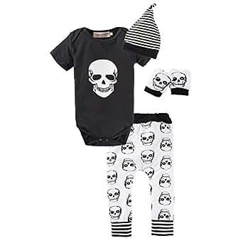 BIG ELEPHANT Baby Boys '4 piezas Skull Head manga corta mameluco Pant ropa conjunto con sombrero L16