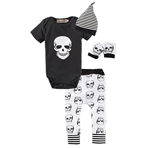 BIG ELEPHANT Baby Boys4 Pieces Skull Head Short Sleeve Romper Pant Clothing Set with Hat L16
