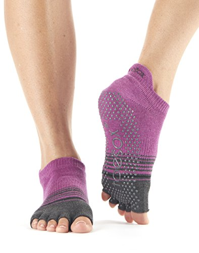 ToeSox Women's Low Rise Half Toe Grip Toe Socks (Mulberry Stripe) (Organic Cotton Toe Socks)
