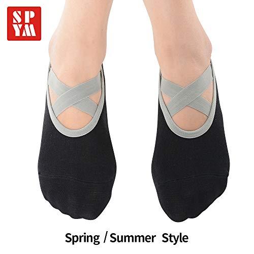 Non-slip cotton yoga socks for women aerial grips socks for pilates dance barre ballet