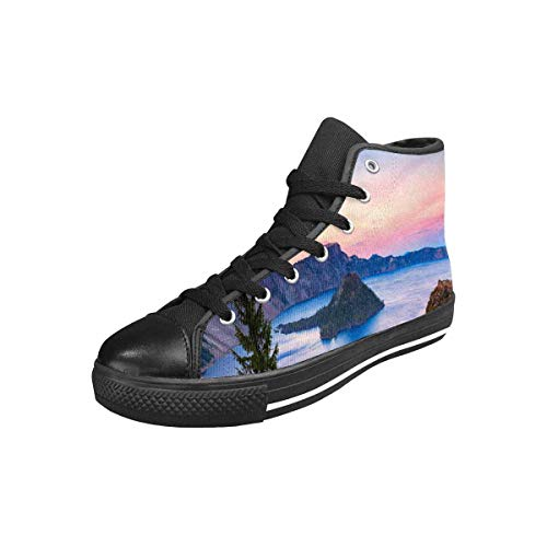 INTERESTPRINT Crater Lake National Park in Oregon, USA Wizard Island Women's High Top Lace Up Trainers Sneakers US6
