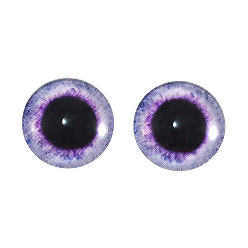 14mm Light Purple Lavendar Fantasy Glass Eyes Pair, for Jewelry Making, Art Doll Creation Parts, Wire Wrapping, Bead Embroidery, Sculptures, Faux Taxidermy, Polymer Clay Creatures, and More