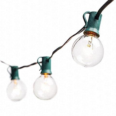 Deneve G40 String Lights with 25 Clear Globe Bulbs - Green (C7 Twinkling Bulbs)