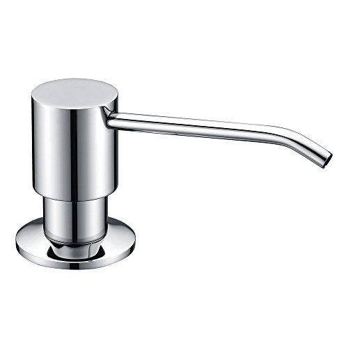 KVADRAT Chrome Solid Brass Pump Kitchen Sink Soap Dispenser,11 Ounce PET Bottle Refillable From Top —— For Hand Dish Soap Bathroom Lotion