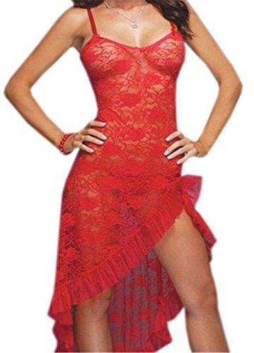 Dudebabe Women Lingerie Plus Size Sx Lace Mesh Babydoll Nightwear Long Gown Thong Red XL (Plus Size Long Gown Lingerie)