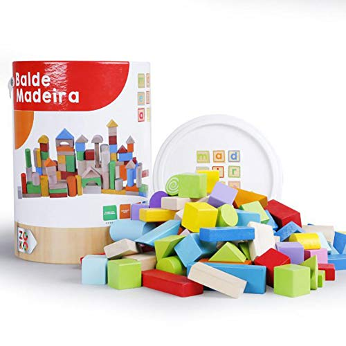 RUI Early Childhood Education Puzzle Baby Assembled Intelligence Chunks Wooden Wooden Blocks Geometric Figures Multicolor Boys and Girls Activities Enlightenment Learning Toys 100 Capsules