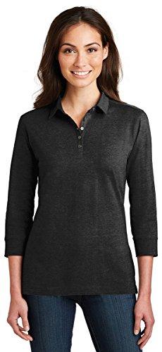 Port Authority Ladies 3/4-Sleeve Meridian Cotton Blend (3/4 Sleeve Polo Shirt)