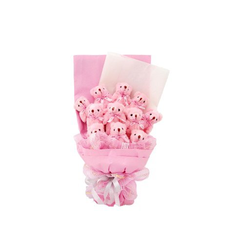 Forever Love Cartoon Flower Bouquet Of 11Pcs Bear Dolls In A Large Bundle Gift Bag