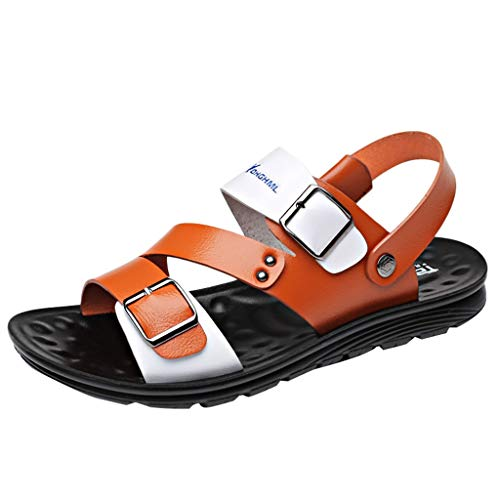 Seaintheson Men's Flat Sandals,Outdoor Hiking Walking Beach Slippers Casual Open Toes Non-Slip Sandals Orange