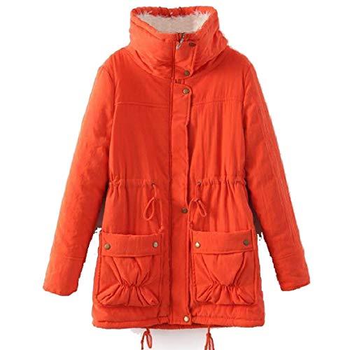 giù Piumino Turn size Provviste Collare Donne Arancione Il Solido Giù Rkbaoye Plus Medio lungo Magre XZAWf