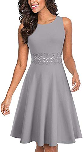 Merope J Sleeveless Lace Waist A-Line Vintage Cocktail Evening Summer Dresses for Women (M, Gray) ()