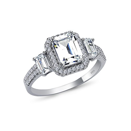 925 Sterling Silver 11mm Cushion Halo 5A+ Gem Grade Quality 3 Stone BAGUETTE EMERALD Cut 2.5 CARAT Bridal Sets Anniversary Promise Engagement Wedding CZ Ring Comfort Fit Rhodium Plated by CHIARA