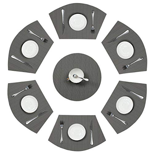 PAUWER Grey Round Table Placemats Set of 7 Wedge and Round Placemats Set for Round Dining Table Washable Woven Vinyl Placemats Set for $<!--$16.88-->