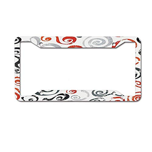 Headwind tactics tag Frame License Plate Frame Designed Metal Car tag Cover 12 x 6 inch Swirls Pattern with Grunge Effect Baroque Geometric Ornament Funky Design Art