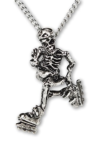 Real Metal Gothic Skeleton Cruising on Roller Blades Silver Finish Pendant Necklace